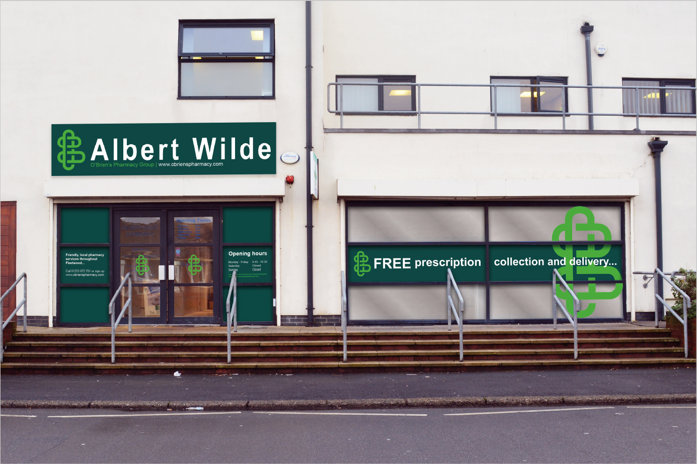 DOSE Design and Marketing O'Brien's Pharmacy Signage Scheme Albert Wilde Exterior