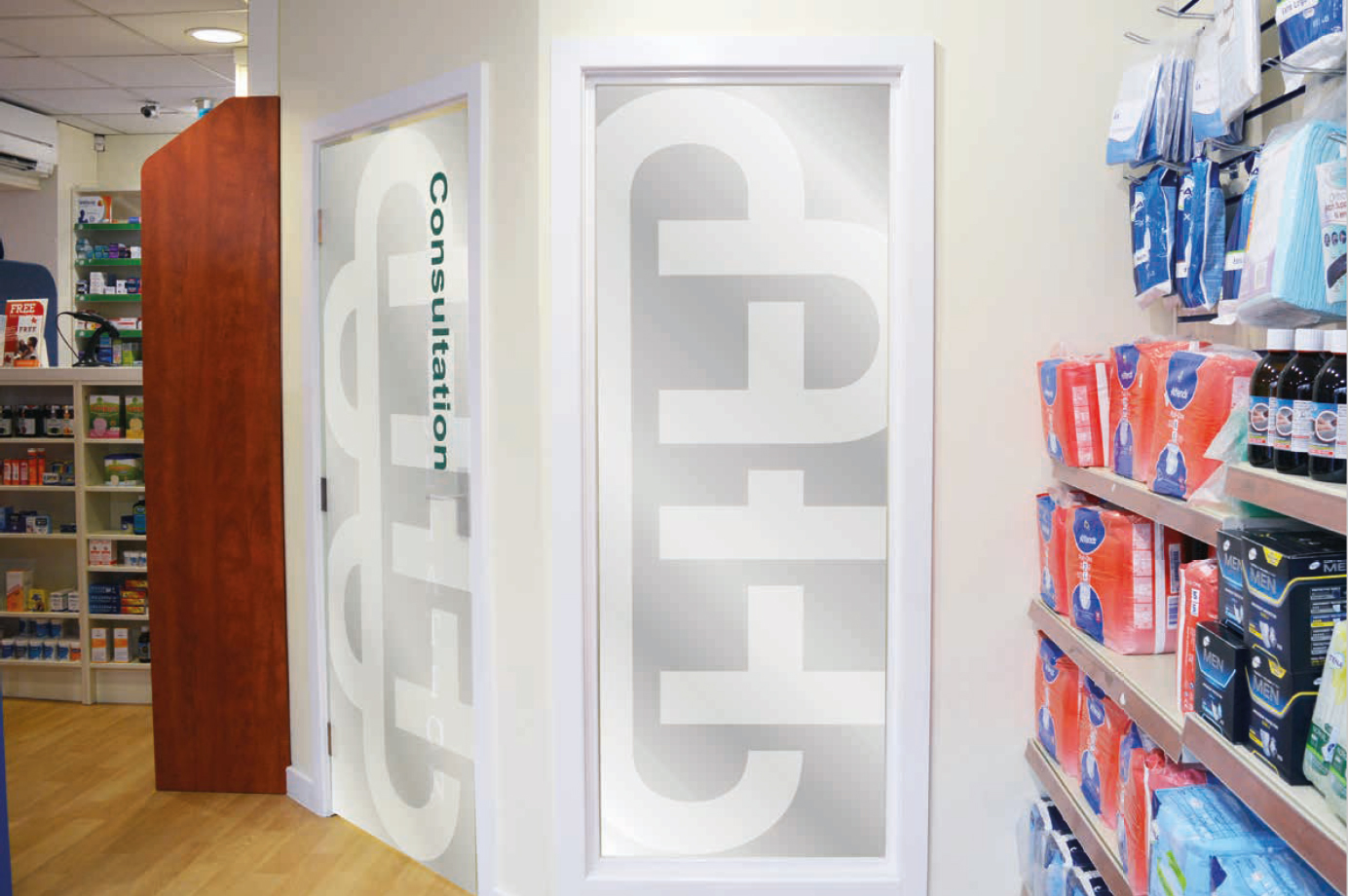 DOSE Design and Marketing O'Brien's Pharmacy Signage Scheme Warburtons Interior