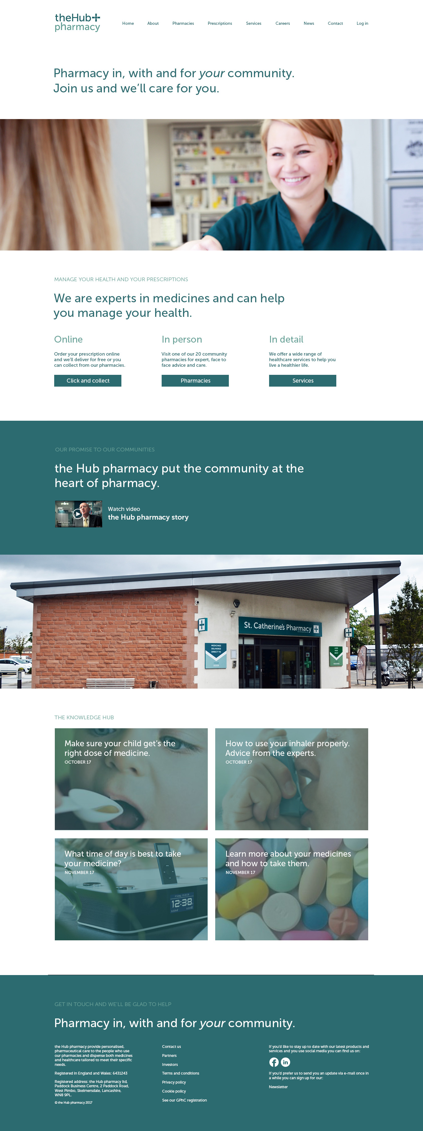 DOSE Design and Marketing the Hub pharmacy Website Home